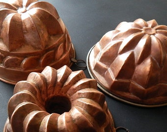 3 Fancy Vintage Copper Moulds