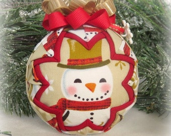 Snowman Quilted Christmas Ornament fabric ornament decoration handmade ornament