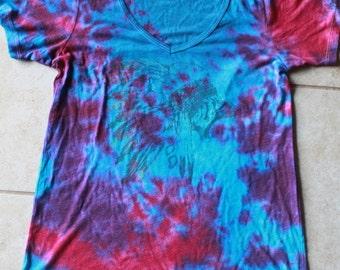 Tie Dye Volcom V Neck Tee Shirt | Size Medium upcycled