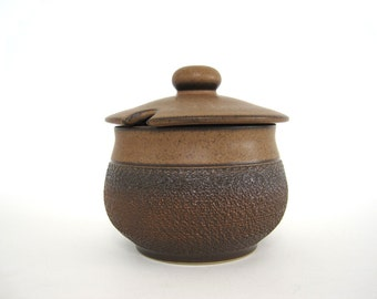 Vintage Stoneware Sugar Bowl with Lid Rustic Textured Woodland Denby Cotswold England 1970s English Brown Pottery