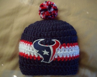Houston Baby hat for Newborn to 18 months- Texans team colors