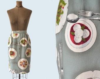 Rayon Salad Print Pencil Skirt size S