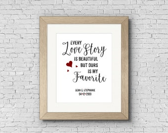 Digital Art Print - Every Love Story Ours Is My Favorite - Personalized Customized Engagement Gift, Wedding Gift, Couples Print, Printable