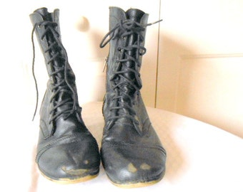 Vintage black leather distressed lace up and zip up Boots