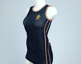 90's Rainbow Side Stripe Sporty Spice Mesh Jersey Mini Dress // XS - S