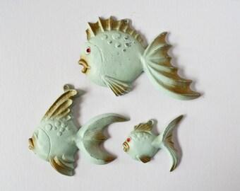 Vintage Aqua Fish Wallhanging Plaques Metal