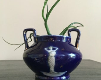 Antique Fedora Miniature Cobalt Blue Vase with Wiman and Gold Stars