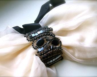 Black Lace Bracelet, black bracelet, Bead crochet bracelet  with beads ,Fashion Jewelry Designer, Freeform Crochet Bracelet Cuff, Beadwork