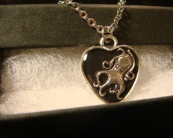 Small Octopus Heart  Necklace -Black Background (2085)