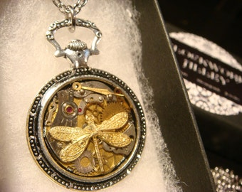 Clockwork Dragonfly Steampunk Pocket Watch Pendant Necklace -Made with Real Watch Parts (2217)