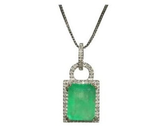 Great Gatsby~ish! Colombian Emerald & Diamond Halo Necklace 14k 4.13TCW