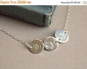 Valentines Sale / 1 2 3 4 5 6 7 8 Initial Disc Personalized Necklace, Tiny Initial Disc Sterling Silver Necklace, Mother Child Necklace, Fam