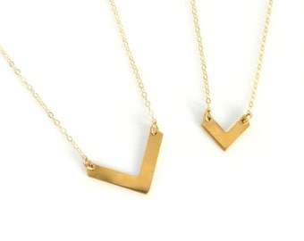 Gold Chevron Necklace, V shaped Necklace, Tiny or Large V Necklace, Layering Necklace, Chevron Charm, Everyday Dainty Necklace, Layered Set