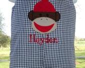 Personalized birthday sock monkey shortall longall jon jon. Custom made with name