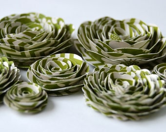 Leaf Green Patterned Handmade Rose Spiral Paper Flowers Use on Projects, Decor, Crafts