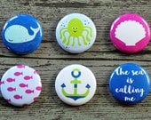 The Sea Is Calling Me Flair Buttons, Scrapbooking Flair Badges, Flat Back Flair, Beach Flair, Seaside Flair, Sea Flair, Pocket Scrapbooking