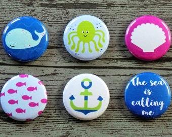 The Sea Is Calling Me Flair Buttons, Scrapbooking Flair Badges, Flat Back Flair, Beach Flair, Seaside Flair, Sea Flair, Pocket Scrapbooking