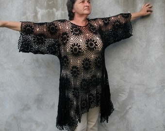 blouse top shirt lagenlook Black cotton boucle Plus Size Handcrocheted Tunic / Sweater XXL/XXXL