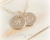 Small Initial Disc Necklace, 14k Gold filled, Personalized, Custom Hand Stamped, 2 Disc, Couples Necklace Valentine Gift, choose from 5 font