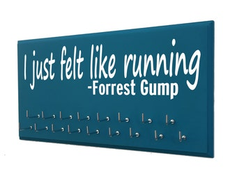 Medal display rack - Forrest Gump running quote on medal holder - running medal hanger - runners medal display - runners medal racks