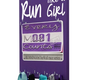 Race bibs medals holder: holder for running medals and race bibs - I Know I Run Like a Girl..Try to Keep Up - race bib holder - running bib
