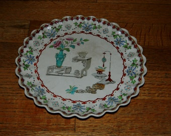 Antique Chinese Scalloped Dish Plate Copeland