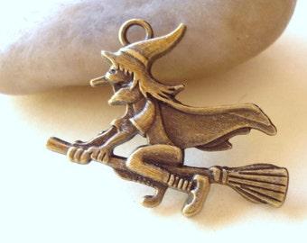 6 Witch Charm Pendant Antiqued Bronze 29x36mm B1387