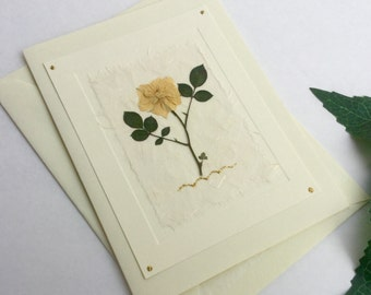Rose Flower, yellow rose, greeting card, OOAK, handmade card, blank inside, special occasion card, birthday, thank you, thinking of you card