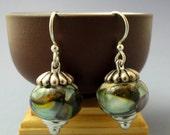 Organic Earrings, Lampwork, Art Bead Earrings, Earthy Dangles, Silver Earrings, Emerald City Art Glass, Flamework, Marcie Page, Art Glass