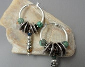 Boho Earrings, Hoops, Tribal, Hippie, Rustic, Dangles, Emerald City Art Glass, Marcie Page, Christmas Gift for Her, Silver Hoops