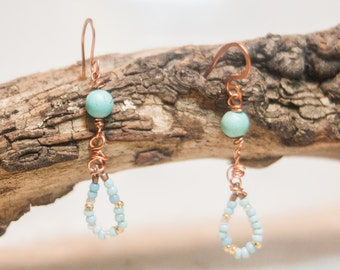 Turquoise Copper Dangle Earrings with Vintage Venetian Seed Beads Turquoise Magnesite on Copper Wire Drops of Summer Rain Boho Chic Earrings