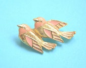 Two Love Birds Pink and Gold Enamel Brooch