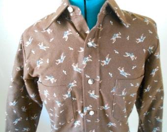 Vintage 1970s PIERRE MICHEL brown flannel bird-print men's button-down, size Small