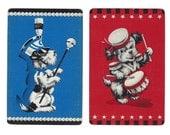 DRUM MAJOR & DRUMMER (2) Vintage Playing Cards Single Swap Paper Ephemera Scrapbook