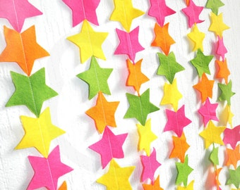 Fruitti Star Streamer - made with wool blend felt in bright fruitti tutti colours, perfect for baby room or parties