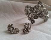 Valentines Day Vintage bracelet earrings rose flower set silver Trifari collectible jewelry