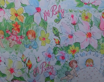 Vintage 1960's Babies Flower Garden Baby Shower Gift Wrap Wrapping Paper