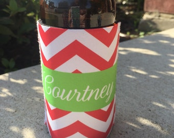 CHEVRON monogrammed can coolie, personalized coolie, beer coolie, bottle coolie - weddings, bachelorette, birthday, beach, patio, pool