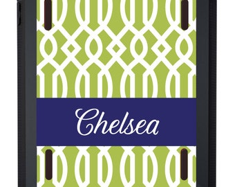 Monogrammed OTTERBOX iPad Defender Case for iPad2 * iPad3 * iPad4 * iPad Air * iPad Air2 in Trellis - customizable colors and fonts