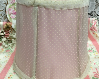 Sweetest Vintage Lampshade~ PINK , Dotted Swiss Tiny white dots~Vanity~Boudoir~Cottage