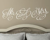 Mr. and  Mrs -Vinyl Lettering wall decals words wedding gift family friends decal graphics sticker love bedroom Home decor itswritteninvinyl