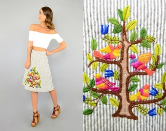 70's Quilted EMBROIDERED Skirt