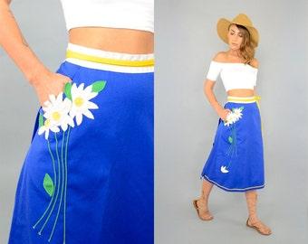 70's Appliquéd WRAP Skirt