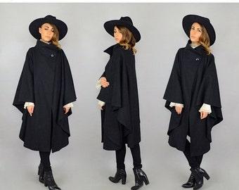 WINTER SALE 80's Black Wool Cape Coat