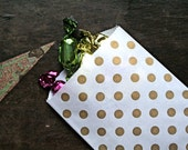 Kraft paper gift bags, 20 Middy Bitty Bags.  White kraft paper bag with gold polka dot design.  Gift bag, favor bag, candy buffet.