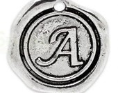 """Add On Initial """"A"""" Charm, personalized letter charm, monogram, Personalized Keychain, Personalized Necklace, antiqued silver plated charm"""
