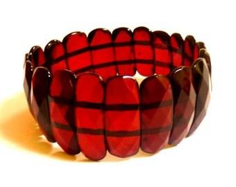 Baltic Amber Bracelet Faceted Cherry Natural 17.9 gram