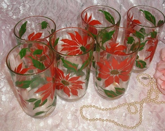 Set of six Christmas Poinsettia 8oz.Tumblers