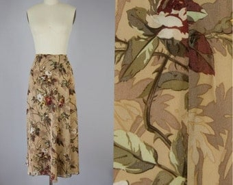 "90s Vintage Emanuel UNGARO Silk Chiffon Floral Wrap Maxi Skirt (S; 28"" Waist)"