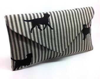 Black Dog Envelope Clutch Coin Purse Wallet Gift for Women Linen Silk Bag Magnetic Snap
